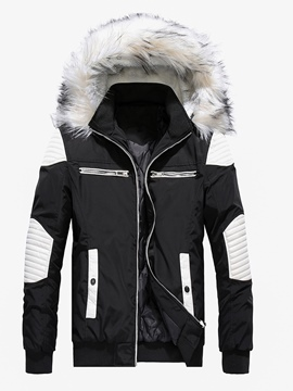 Ericdress Slim Patchwork Color Block Zipper Mens Down Jacket