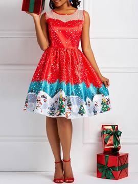 Ericdress Christmas Sleeveless Round Neck A-Line Dresses
