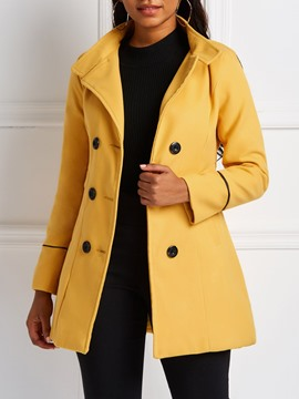 Ericdress Double-Breasted Button Slim Mid-Length Fall Overcoat