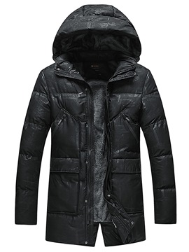 Ericdress Mid-Length Plain Thick Zipper Mens Down Jacket