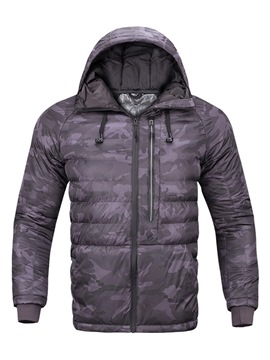 Ericdress Camouflage Hooded Zipper Casual Mens Down Coats