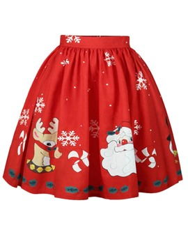 Ericdress Christmas Mid-Calf Cartoon Women's Skirt