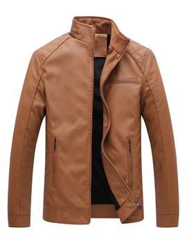 Ericdress Plain Stand Collar Mens Casual Slim Leather PU Jacket