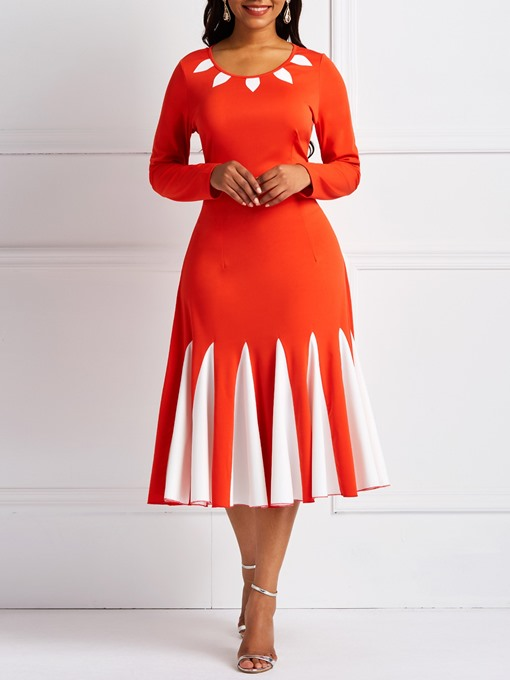 Ericdress Long Sleeves Color Block A-Line Women's Dress