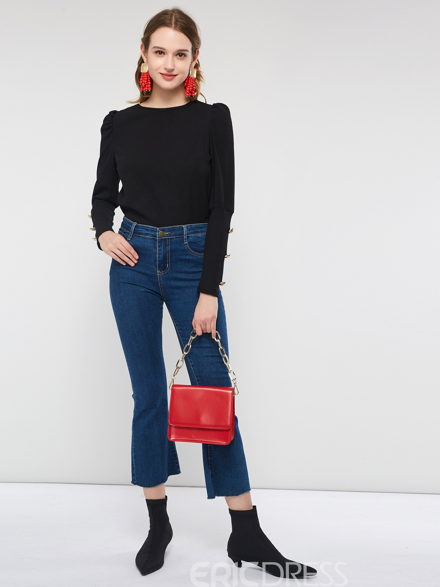 ericdress t-shirt simple col rond manches longues simple chute