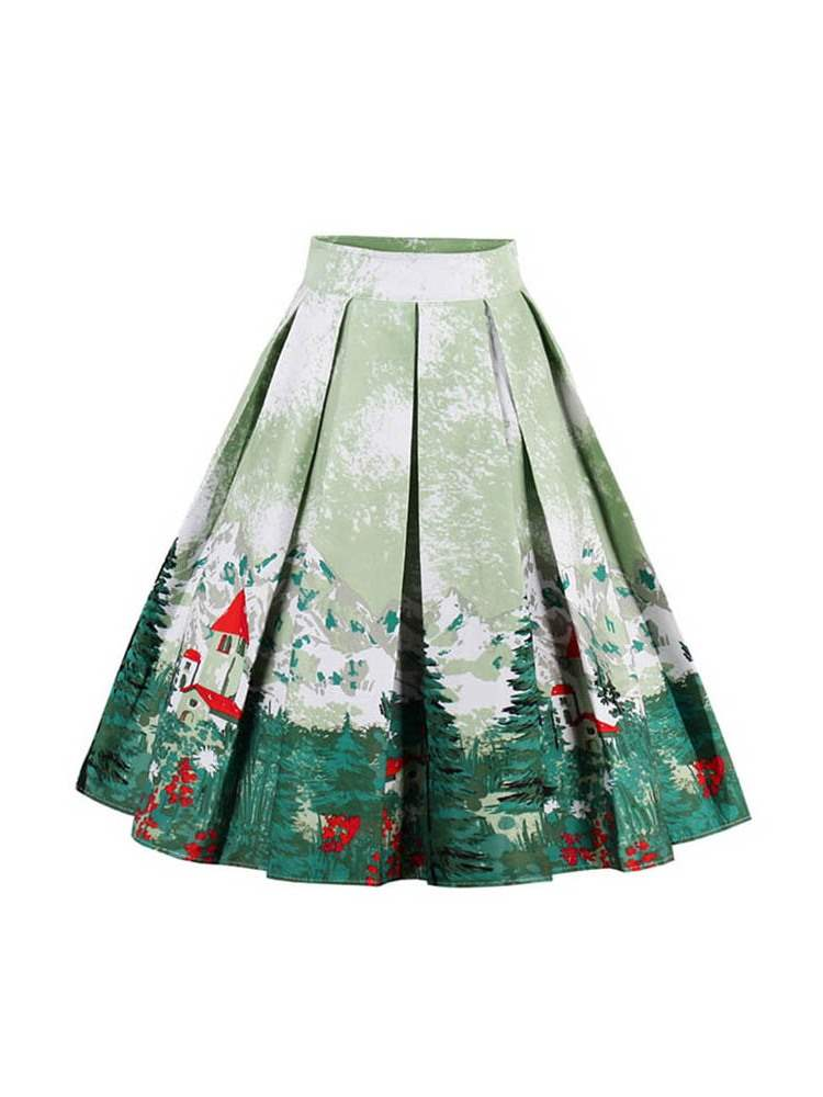 Ericdress Christmas Mid-Calf High-Waist A-Line Floral Women's Skirt