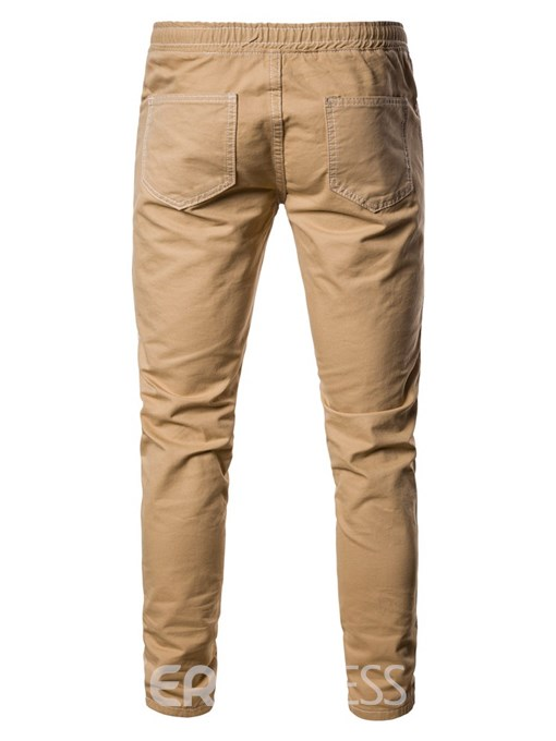 Ericdress Plain Slim Striped Lace-Up Mens Casual Pants