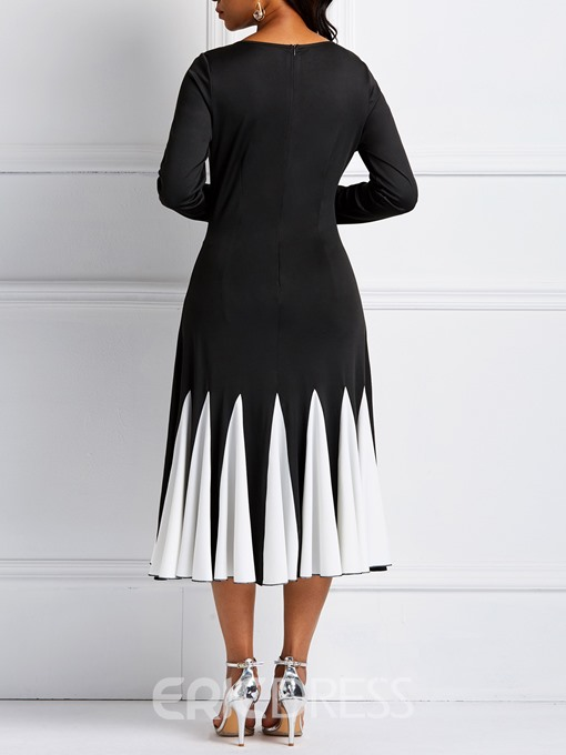 Ericdress Long Sleeves Color Block Round Neck Women's Dress
