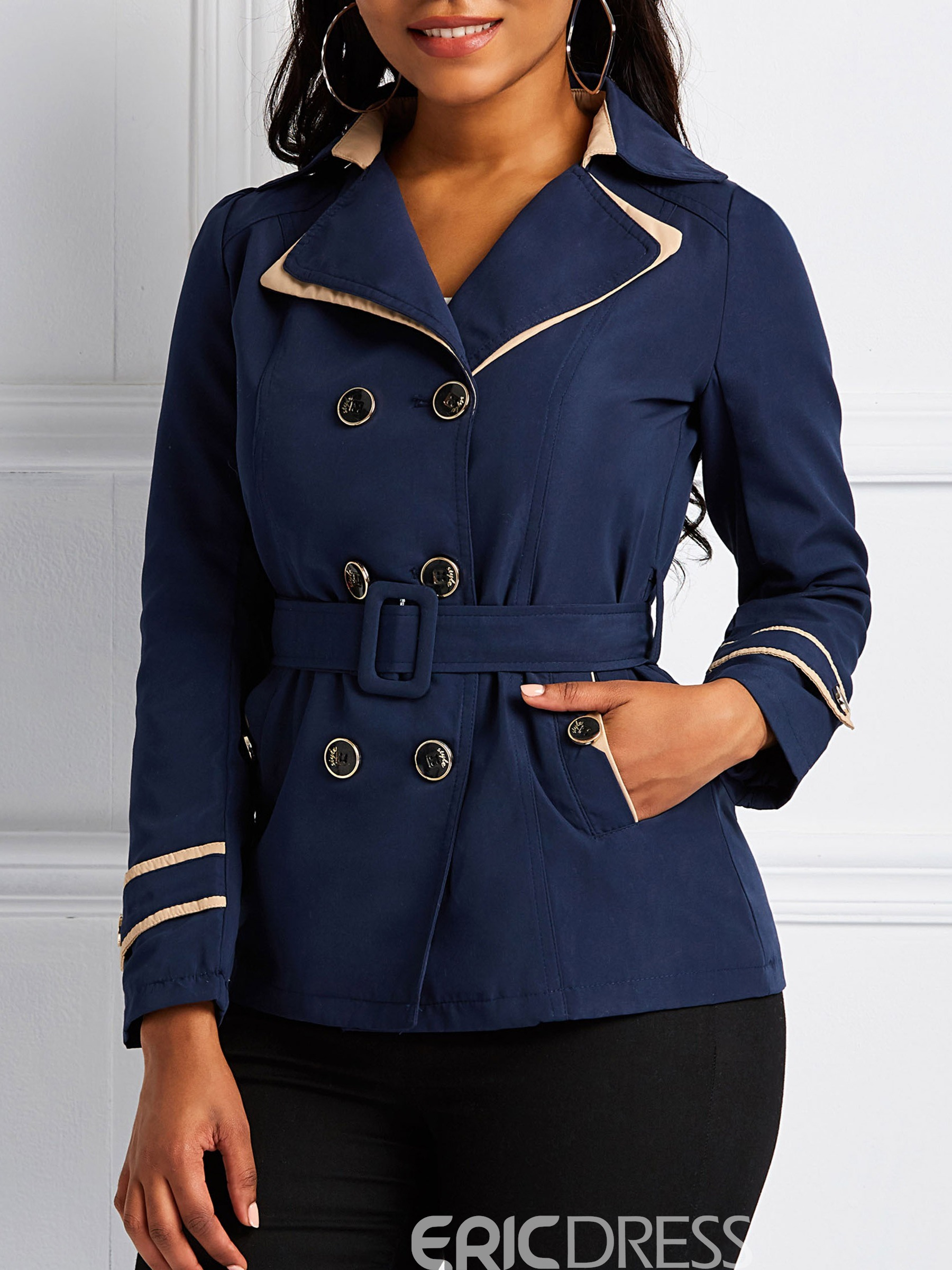 Ericdress Notched Lapel Double-Breasted Mid-Length Long Sleeve Regular Trench Coat