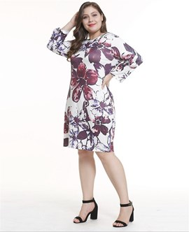 Ericdress Plus Size Print Long Sleeve Round Neck Floral Regular Dress