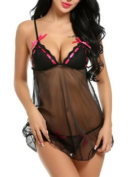 Ericdress Bowknot Lace See-Through Babydoll
