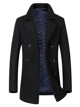Ericdress Plain Double-Breasted Mid-Length Mens Wool Coat
