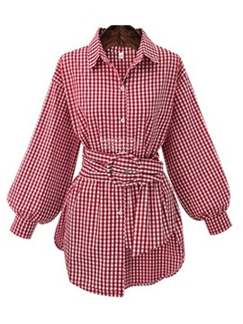 Ericdress Lapel Plaid Lantern Sleeve Mid-Length Long Sleeve Blouse