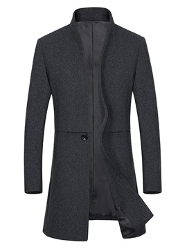 Ericdress Plain One Button Slim Mens Casual Woolen Coat