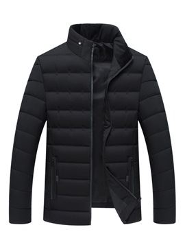 Ericdress Plain Thick Casual Zipper Mens Down Coats