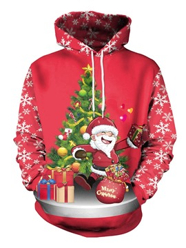 Ericdress Christmas Regular Cartoon Print Winter Long Sleeve Hoodie