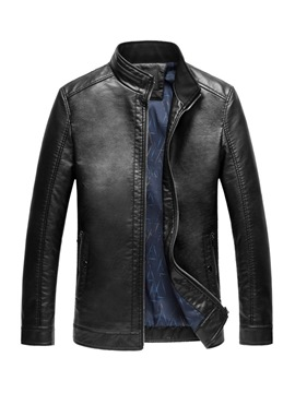 Ericdress Stand Collar Plain Zipper Mens Leather Jacket
