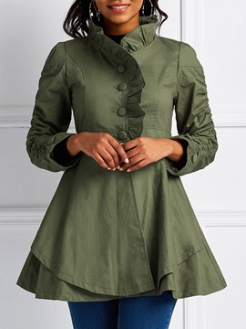 Ericdress Mid-Length Button Single-Breasted Long Sleeve Trench Coat