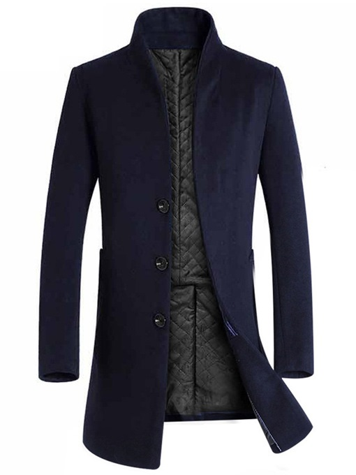 Ericdress Plain Single-Breasted Slim Mens Wool Coat