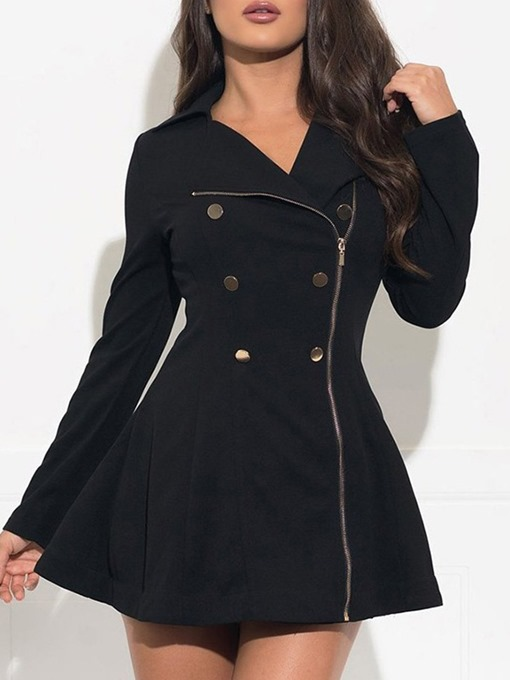 Ericdress Asymmetric Zipper Regular Mid-Length Fall Overcoat