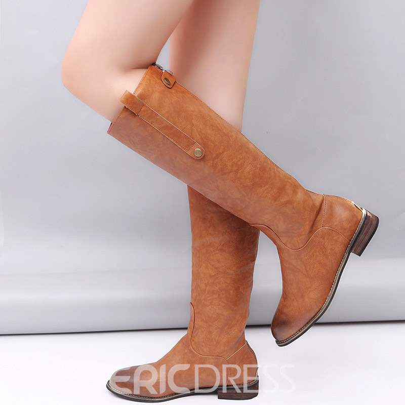 b880761f34c Ericdress Slip-On Round Toe Block Heel Women s Knee High Boots ...