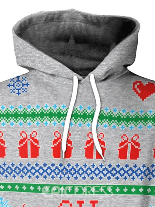 Ericdress Christmas Print Regular Letter Hooded Standard Hoodie