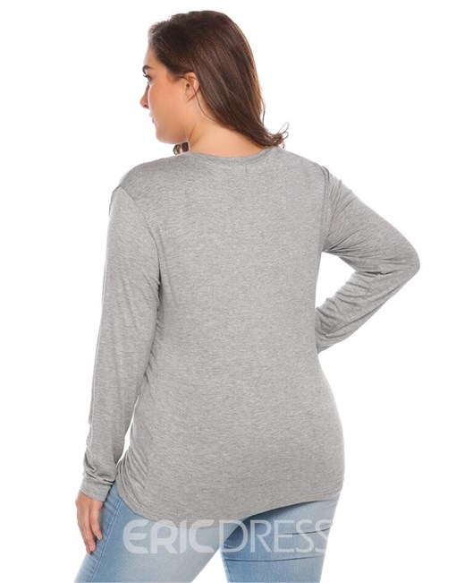 Ericdress V-Neck Plus Size Casual T-Shirt