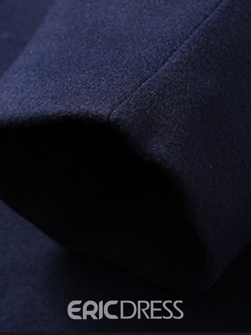 Ericdress Plain Notched Lapel Single-Breasted Mens Wool Coat