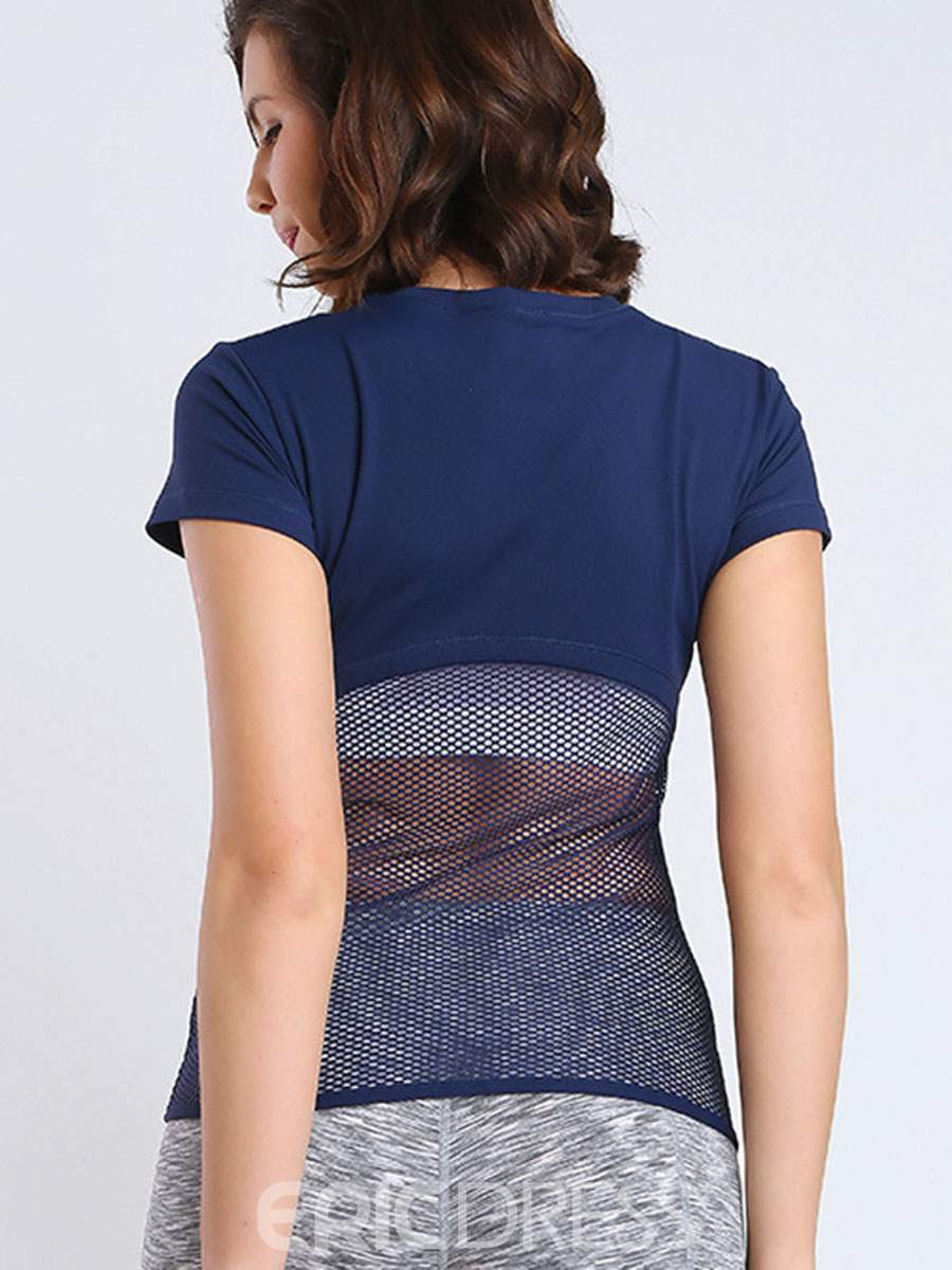 Ericdress Mesh Patchwork Solid Anti-Sweat Pullover Tops