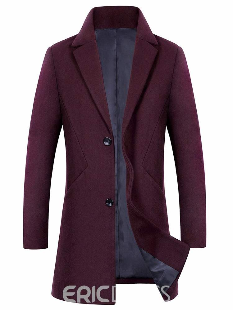 Ericdress Slim Plain Single-Breasted Mens Winter Woolen Coat