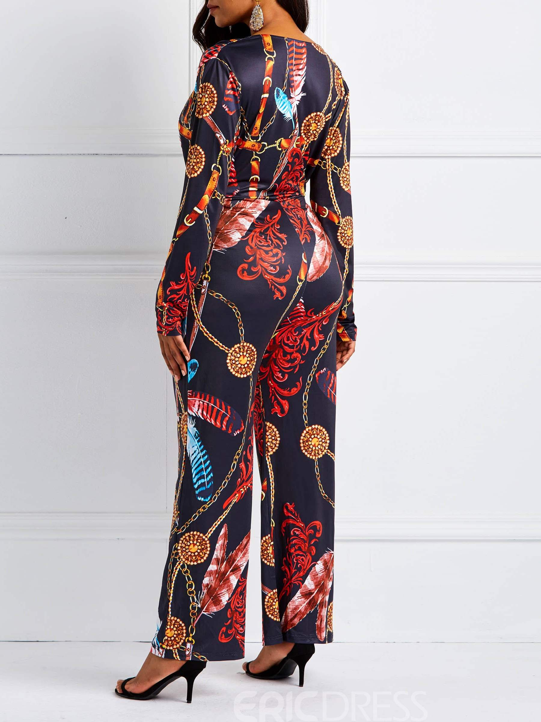 Ericdress Print V-Neck Lace-Up Mid-Waist Wide Legs Women's Jumpsuits