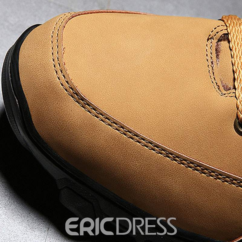 Ericdress Plain Round Toe Lace-Up Front Men's Snow Boots