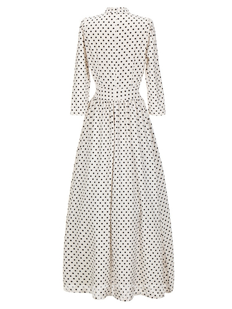 Ericdress Ankle-Length Stand Collar Three-Quarter Sleeve Vintage Dress