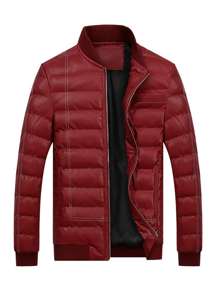 Ericdress Plain Stand Collar Men Casual Zipper Quilted Down Jacket