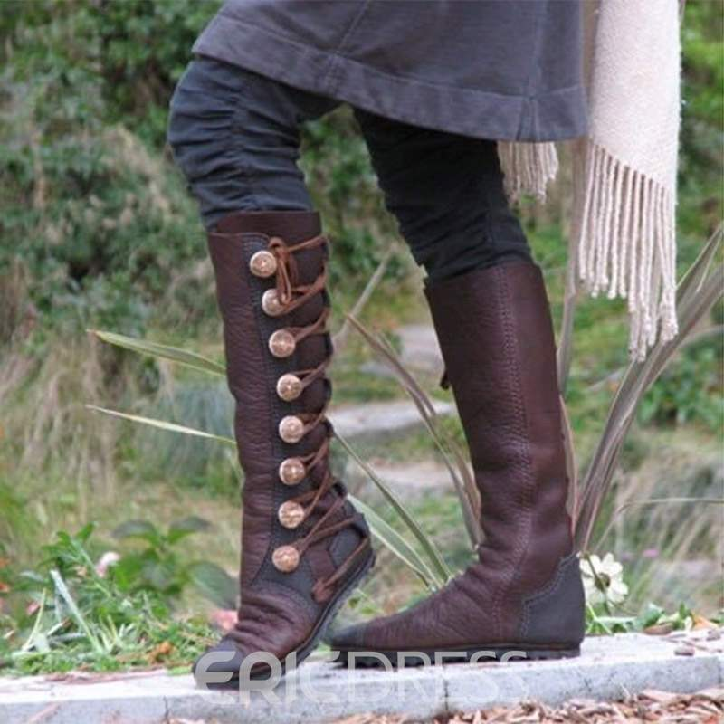 Ericdress Round Toe Lace-Up Side Women's Knee High Boots