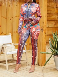 Ericdress Floral Print Skinny Hoodie and Pencil Pants Womens Two Piece Sets