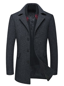 Ericdress Plain Mid-Length Single-Breasted Mens Woolen Coats