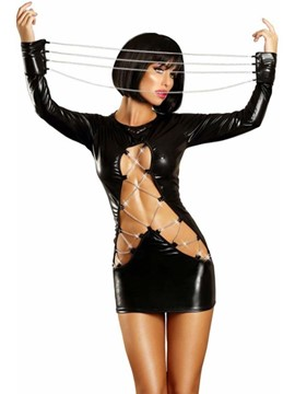 Ericdress Hollow Long Sleeve Plain Patent Leather Sexy Costumes
