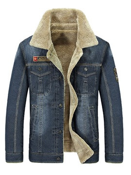 Ericdress Plain Lapel Thick Mens Casual Winter Denim Jacket