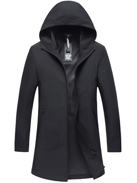 Ericdress Plain Hooded Zipper Mens Casual Trench Coat
