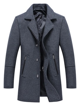 Ericdress Plain Notched Lapel Single-Breasted Mens Woolen Coat