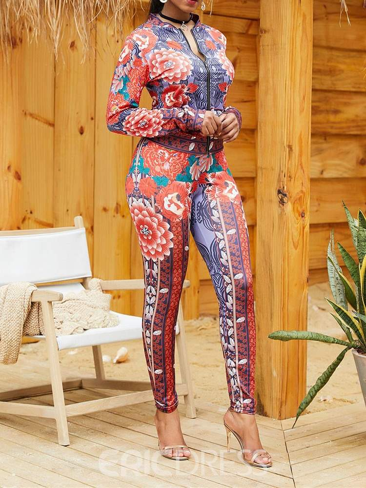 Ericdress Floral Print Skinny Hoodie and Pencil Pants Women's Two Piece Sets