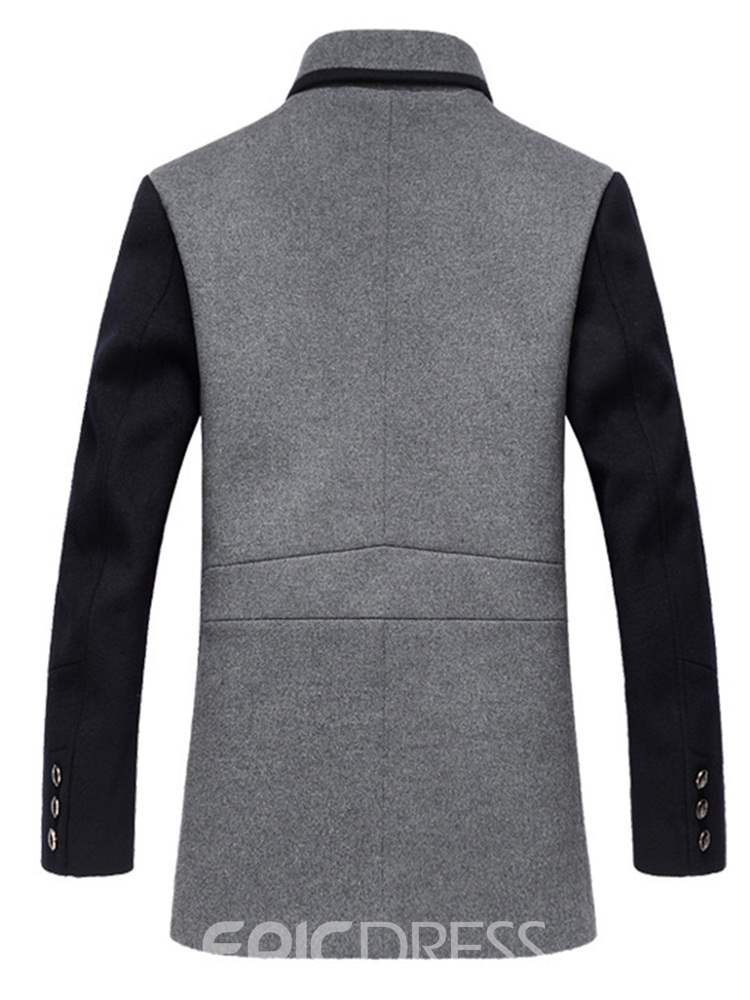 Ericdress Patchwork Single-Breasted Mens Casual Woolen Coat