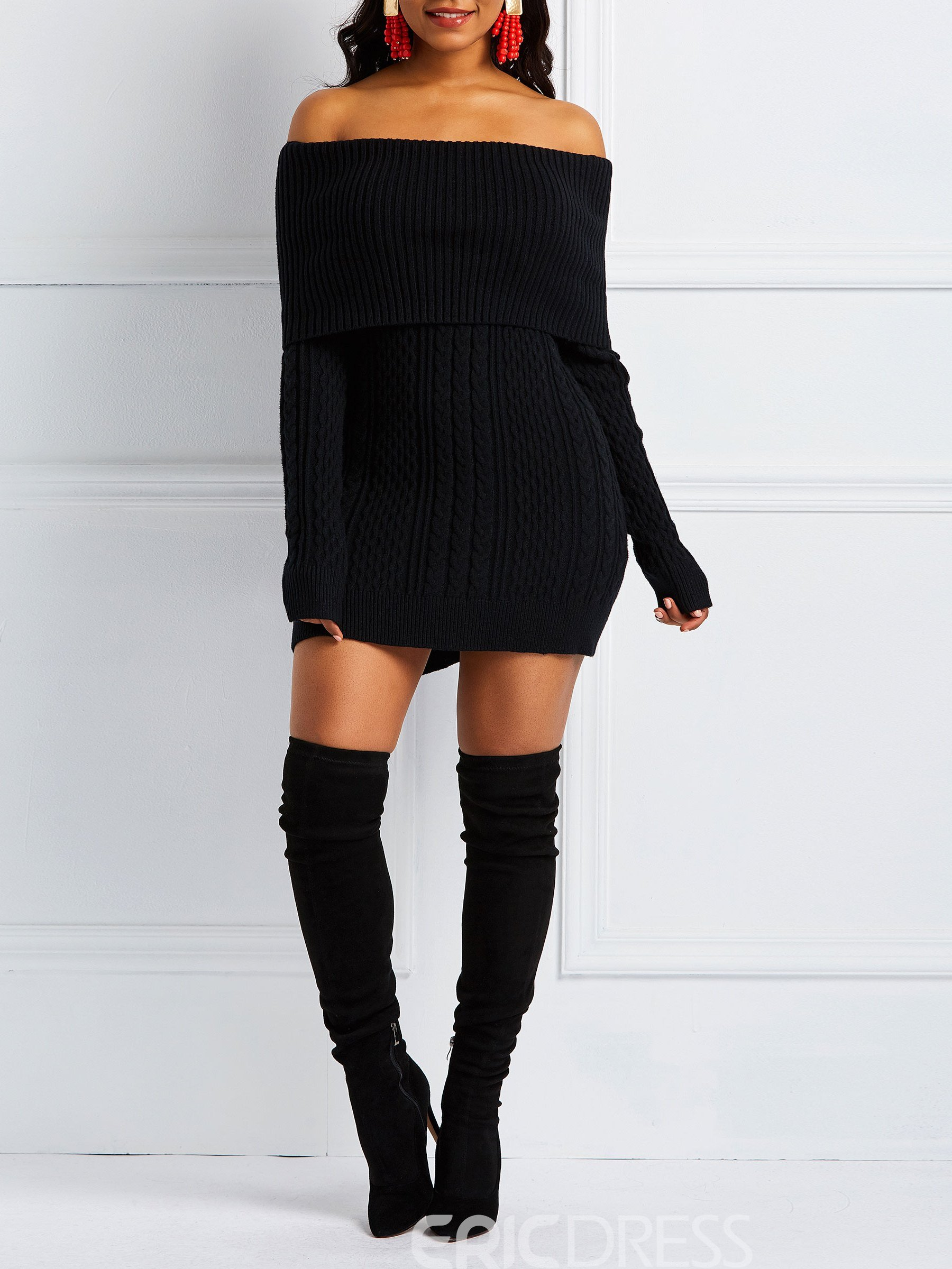 Ericdress Long Sleeve Above Knee Off Shoulder Casual Pullover Dress