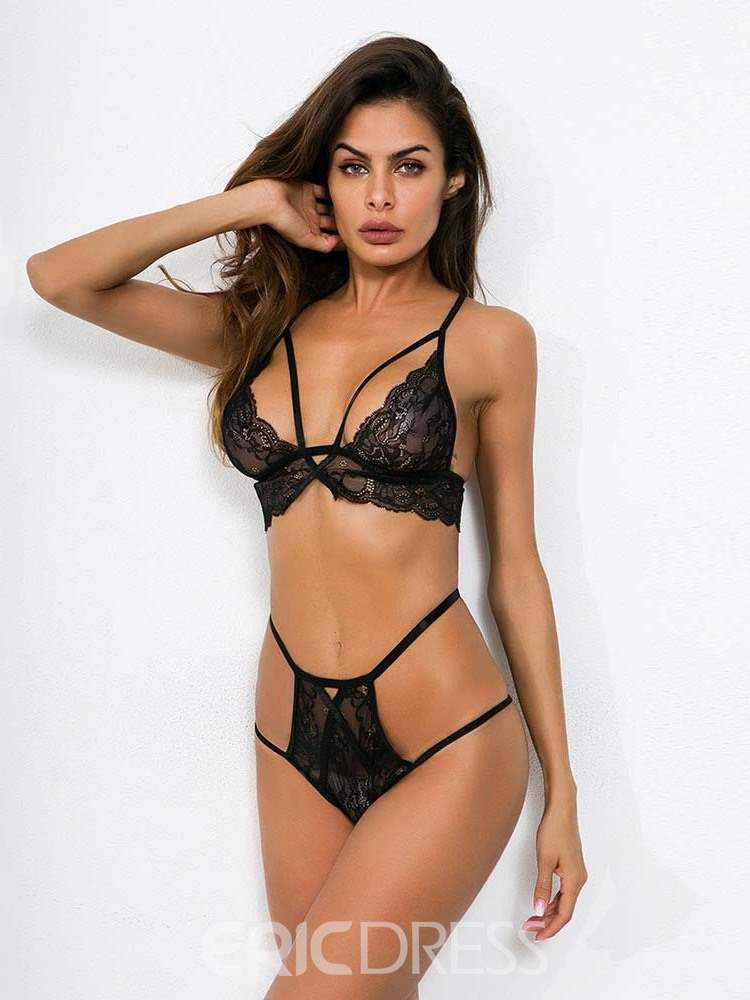 Ericdress Lace Plain Sexy Bra Set