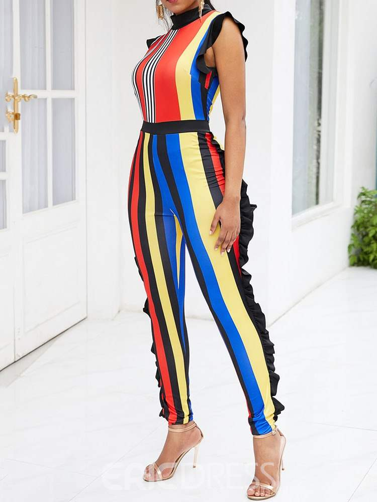 Ericdress Striped Falbala Skinny Women's Jumpsuit