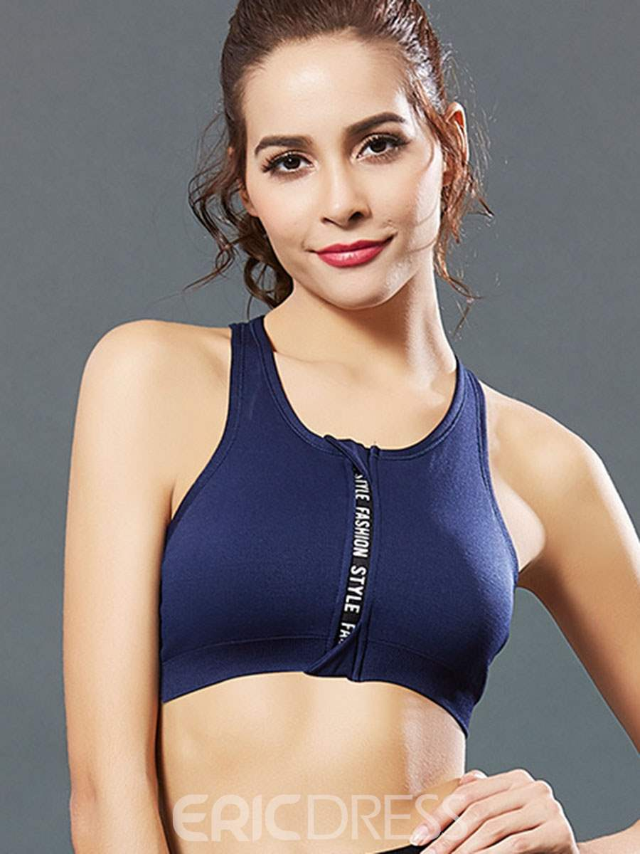 Ericdress Non-Adjusted Straps Absorbent Zipper Letter Sports Bras
