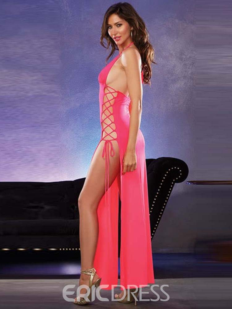 Ericdress Halter Lace-Up Plain Side Split Sexy Pole Dance Costume