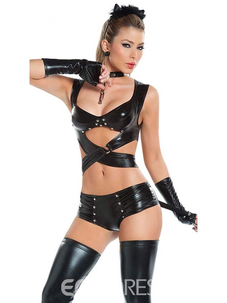 Ericdress Patent Leather Bowknot Rivet Sexy Costume