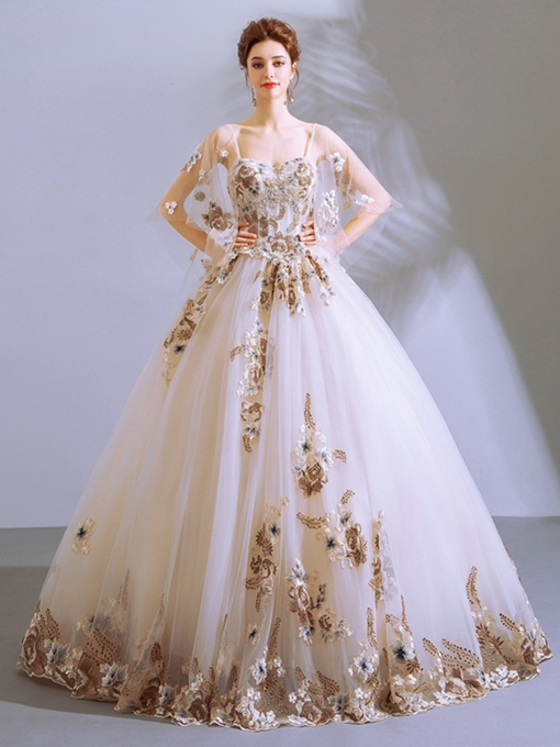 Ericdress Half Sleeves Appliques Ball Gown Quinceanera Dress 2019